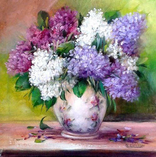 Peinture l 39 huile for Bouquet de fleurs lilas