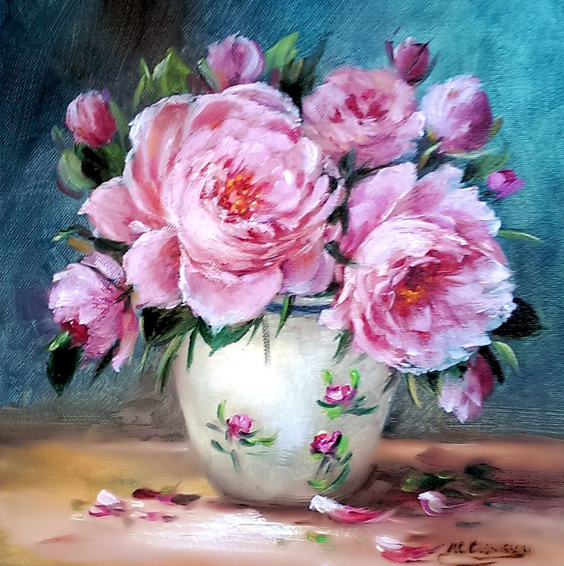 Peinture Huile Bouquet De Roses,Jusqu À 6